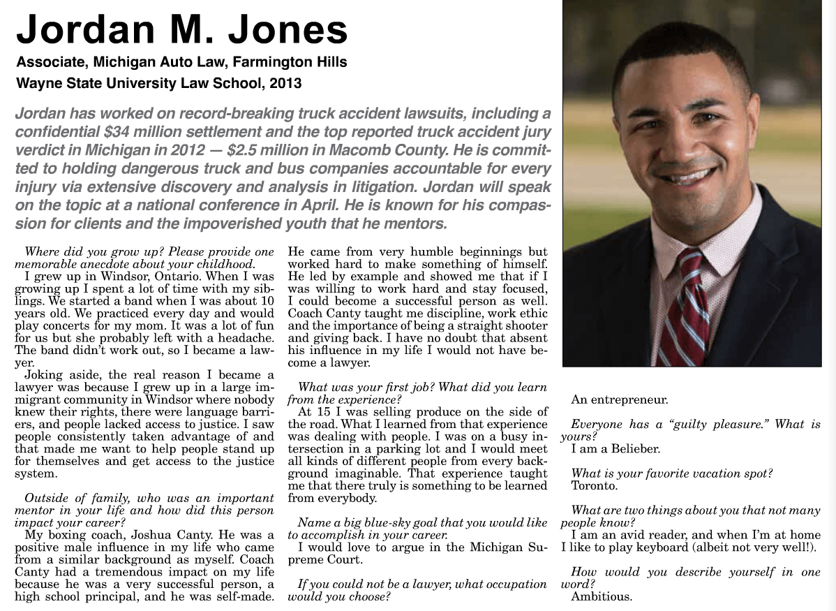 Jordan Jones, Michigan Lawyers Weekly 2015 Up and Coming Lawyer1