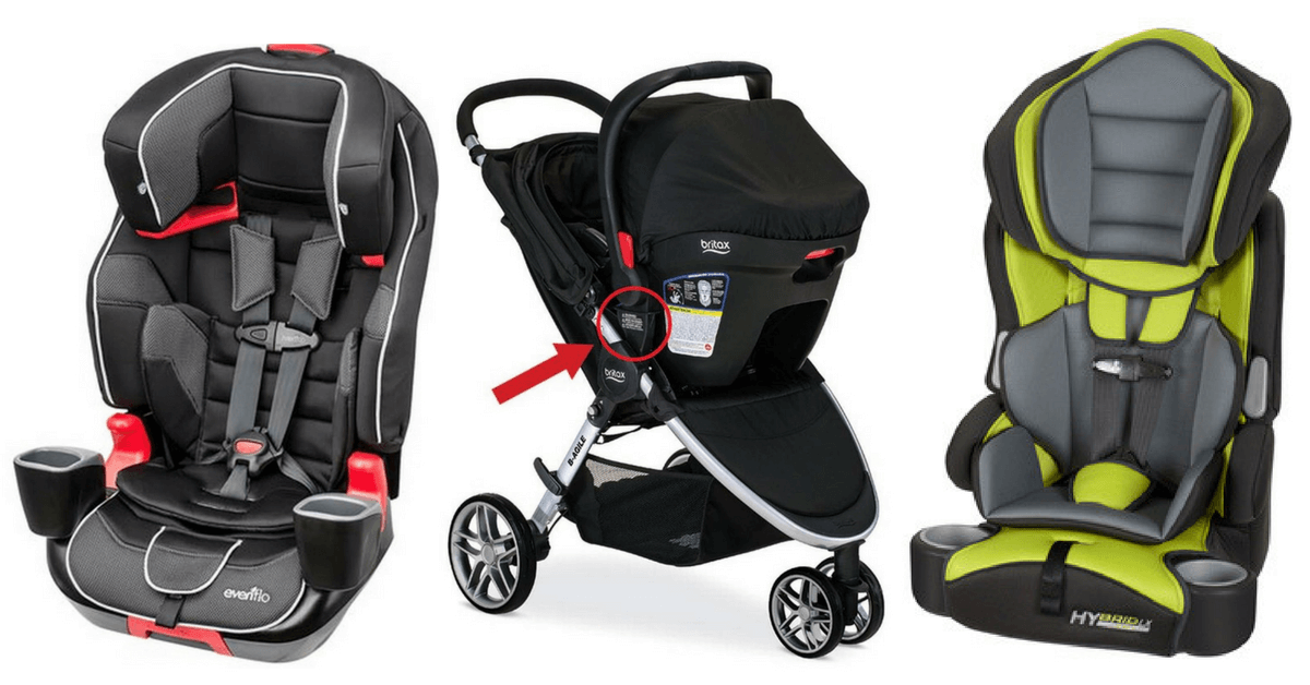The Evenflo Evolve 3 In 1 Child Car Seat From Left Britax B Agile Stroller With Click Go Receiver And Baby Trend Booster Style Are